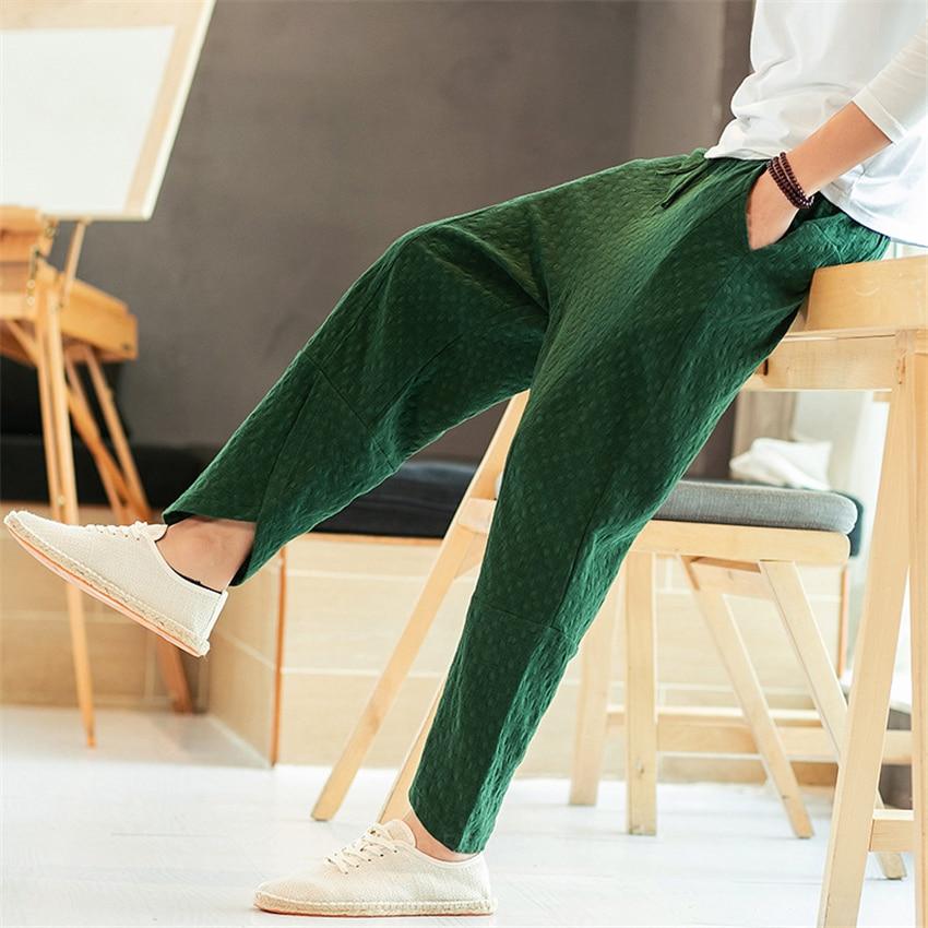 4 цвета для мужчин китайский традиционный костюм в китайском стиле городской уличной футболки на каждый день в ретро стиле, штаны однотонного цвета для детей летние взрослого размера плюс брюки для занятий кунг фу|Штаны| | АлиЭкспресс