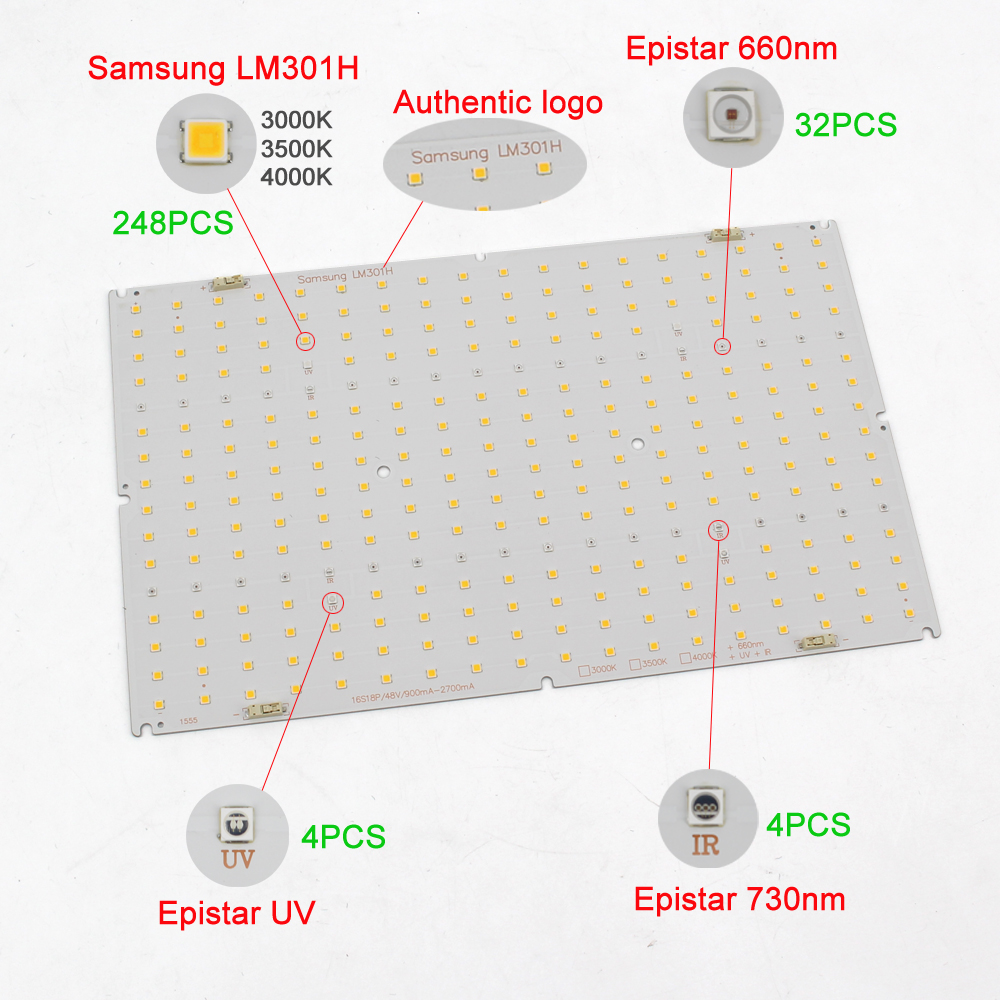 LM301H QB288 Quantum Tech V3 LED Board 3000K 3500K Mix660nm UV IR Board Only,no Driver, No Heat Sink