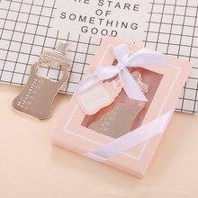 Золотая открывалка для кормления-бутылка в розовой коробке для душа для маленькой девочки крещение новорожденного раздача подарков на вечеринке 10 шт