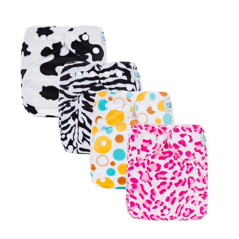 Cartoon Baby Diapers Reusable & Washable Minky Baby Nappies Cute Prints Diaper For 6-35+ Pounds Baby C Series
