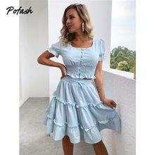 Pofash floral impressão azul feminino doce duas peças conjunto de topo e saia botão mangas puff plissado ternos verão tow conjuntos elegantes