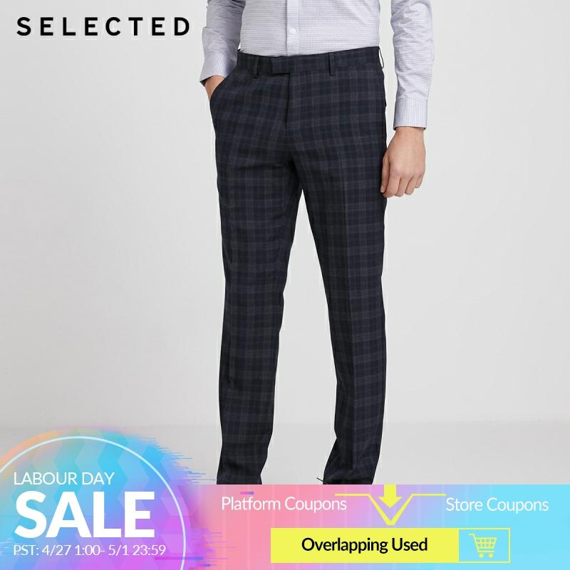 SELECTED Men's Slim Fit Checked Business Casual Suit Pants SIG|42016A501