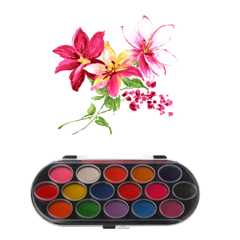 Colorful New 16Pcs Watercolor Palette Brush Set Painting Tray Craft Drawing Art Mini Kid Gift