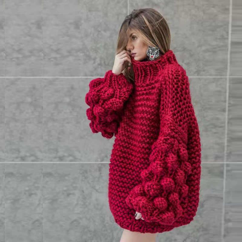 Palla, di spessore filo, ago, maglione Del Manicotto Della Lanterna, umido semi-collo alto, di spessore e sciolto lavorato a maglia giacca
