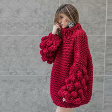 ball ball, thick thread, needle, Lantern Sleeve sweater, moist semi-high collar, thick and loose knitted jacket(China)