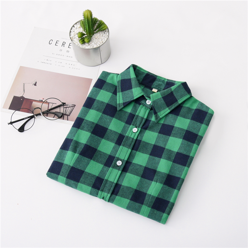 2020 New Women Blouses Brand New Excellent Quality Cotton 32style Plaid Shirt Women Casual Long Sleeve Shirt Tops Lady Clothes 20