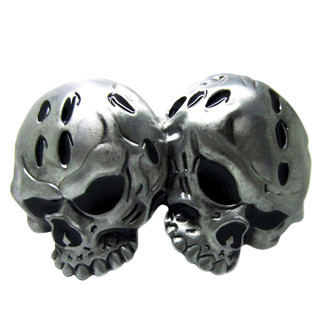 Novelty Vintage Western Belt Buckle 3D Double Skull Head Gothic Clothing Accessories For Women Men