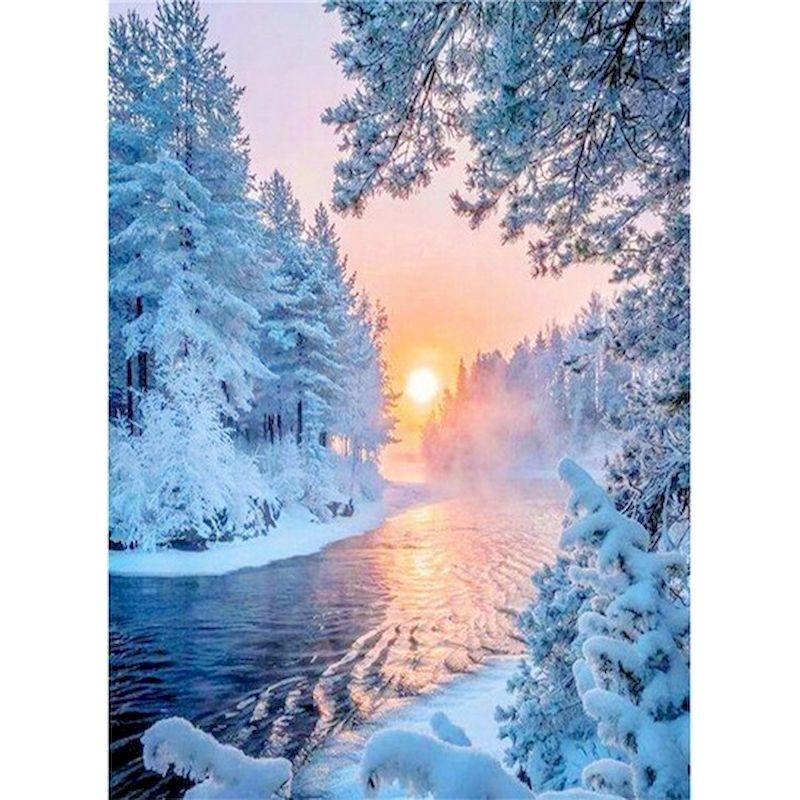 Купить gatyztory зимний снежный пейзаж живопись маслом по номерам наборы