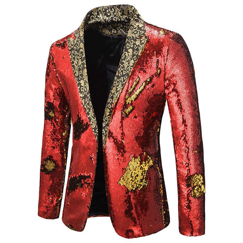 Mens Hipster Double-Color Sequins Blazer Jacket Slim Fit One Button Men Blazer Nightclub Bar DJ Singer Suit Jacket Costume Homme
