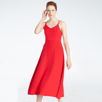 Marwin New-Coming Spring Summer Holiday Dress Cross Spaghetti Strap Open Back Solid Beach Style Ankle-Length Women Dresses 5
