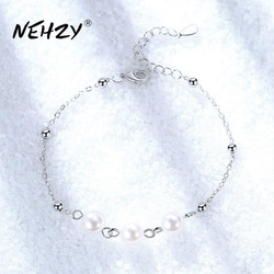 NEHZY 925 sterling silver jewelry bracelet high quality retro fashion woman pearl round DIY bracelet length 21CM