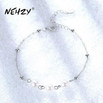 NEHZY-pulsera de joyería de plata de ley 925 para mujer, de alta calidad, retro, a la moda, con perlas redondas, DIY, longitud de 21CM
