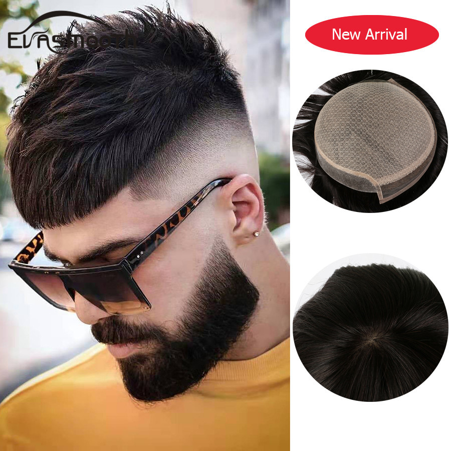 2020 Summer Silk Base Men Toupee Hair Extension Mens Wig Breathable Durable Natural Human Hair Male Wig Prosthesis Natural Color