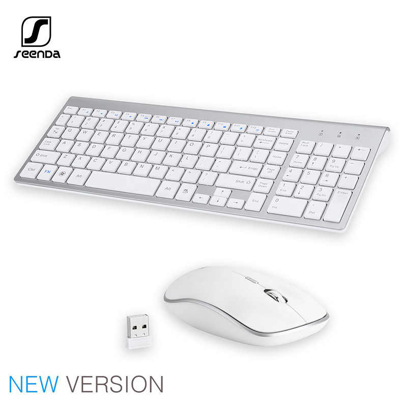 SeenDa 2.4G Nirkabel Diam Keyboard dan Mouse Mini Multimedia Full-Size Keyboard Mouse Combo Set untuk Notebook Laptop PC Desktop