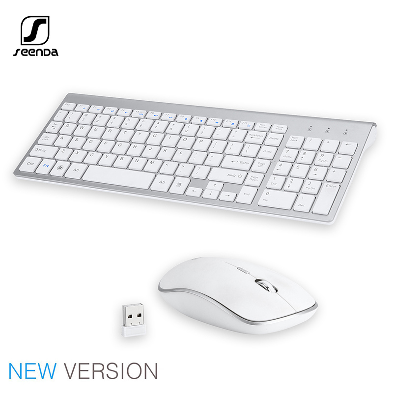 SeenDa 2.4G Wireless Silent Keyboard and Mouse Mini Multimedia Full-size Keyboard Mouse Combo Set For Notebook Laptop Desktop PC