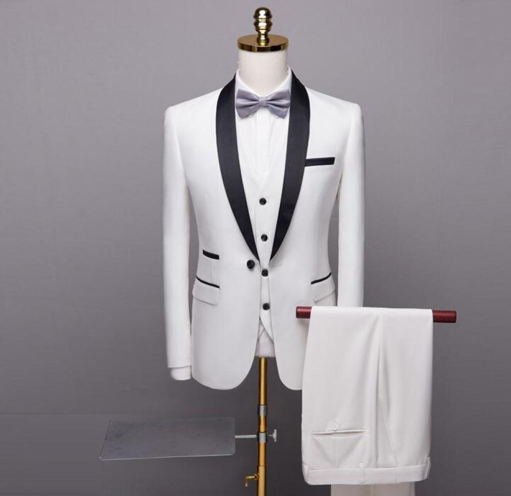Men 3 Piece Slim Suit Blazer Business Formal Dress Blazer Wedding Office Pants Set Costume