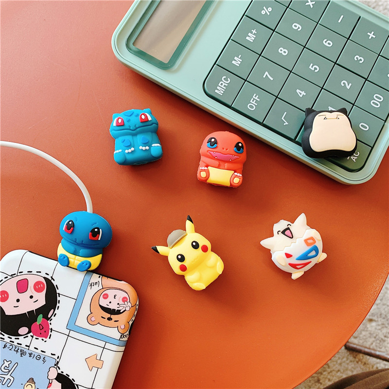 Pokemon Pikachu data cable protective sleeve cartoon silicone mobile phone cable holder anti-breaking winding birthday gifts 3