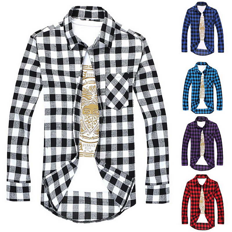 JODIMITTY Plaid Men Shirts  Summer Mens Checkered  Long Sleeve Shirt Men Blouse Camisa (suggest Buy 2 Size Up)