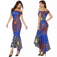 Evening Party Dresses Women Bodycon Sexy Dress Cloth One Shoulder Printing Package Hip Full Mermaid dresses women