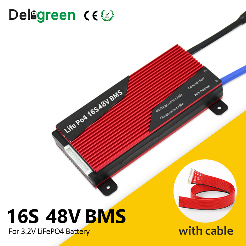 Deligreen 16S 48V battery protection board 80A 100A 150A 200A BMS for 18650 cell E-bike rated 3.2V lifepo4 Battery Pack