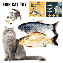 25CM Electronic Fish Cat Toys USB Charging Simulation Dancing Jumping Moving Floppy 3D Fish Cat Toy Supplies Dropshiping