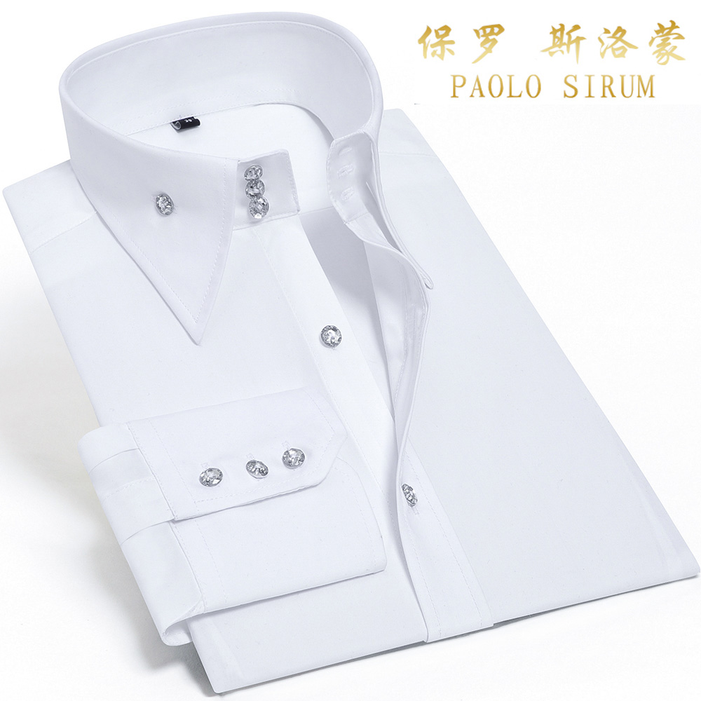 Causal Shirt For Men Silk Cotton Long Sleeve Non Iron Button Down Slim Fit Shirts Luxury Wedding Business Party Blouse