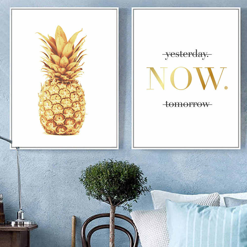 New Arrival Nordic Wall Pictures for Living Room Golden Pineapple Back To The Future Art Anime Poster Painting Abstract