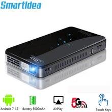 SmartIdea هاتف بروجيكتور صغير ، android 7.1 ، 200 لومن ، واي فاي ، 5G ، بطارية ، بلوتوث لمدة 3 ساعات ، مفاتيح تعمل باللمس ، HD 1080P