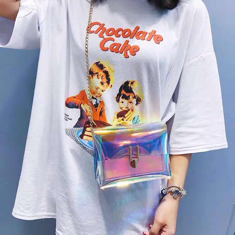 Tas Selempang untuk Wanita Transparan Laser Tas Fashion Wanita Tas Bahu Tas Messenger PVC Tahan Air Tas Pantai