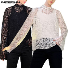 INCERUN Men T-shirts Sets Fashion Men Lace T Shirt Two Piece Tops Long Sleeve See-through Hollow Out Party Clubwear Mesh S-5XL