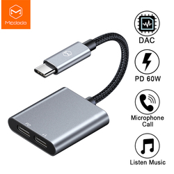 MCDODO 60W PD Usb C untuk Dual Tipe-C Earphone Digital AUX Audio Adapter DAC HIFI Converter untuk iPad Pro MacBook Samsung S10 Note10