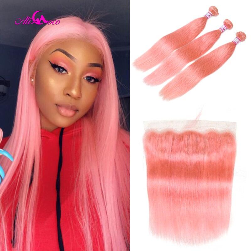 Ali Coco, 26, 28, 30 дюймов, розовые бразильские вплетаемые волосы, 3 пряди, с фронтальной окантовкой, прямые волосы, пряди с фронтальной окантовкой,