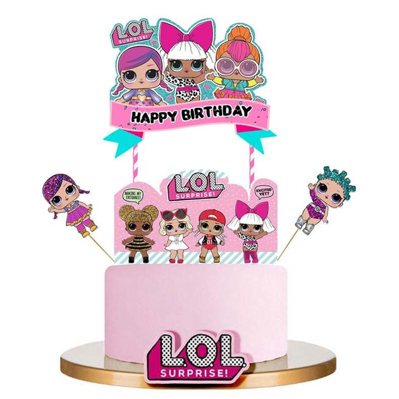 birthday party decorations kids LOL dolls DIY theme Decoration Supplies Cup Plate Spoon wedding cake topper Gifts