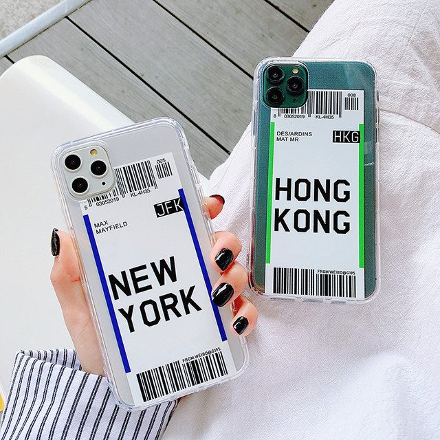 Hot travel Air ticket New York Los Angeles Phone Case for iphone 7 8 plus 11 12 Mini Pro x xs max xr National Entry Permit Cover 2