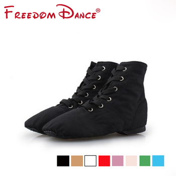 цена на Men Women Sports Dance Sneakers indoor Fitness Shoes Ballet Jazz Dance Shoes Lace Up Dancing Boots Red Tan Pink Blue Ballet Flat