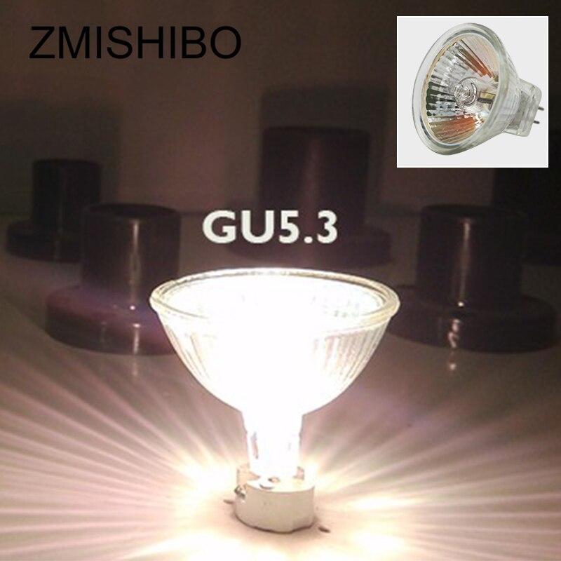 Купить с кэшбэком ZMISHIBO 10PCS/Lot MR16 GU5.3 Halogen Bulb 12V 20W 35W 50W 220V JCDR 50MM Clear Glass Dimmable Spot Lights Warm White 2700K