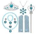 Аксессуары для девочек, ожерелье, серьги, перчатки, Корона и палочка