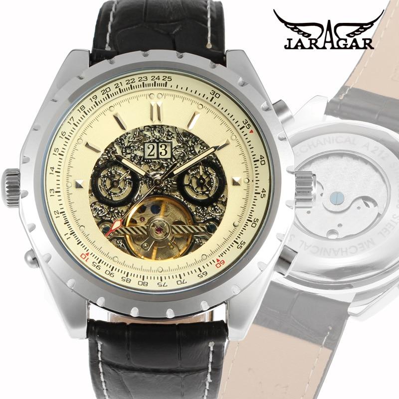 Jaragar marrom vidro masculino moda casual tourbillon relógio mecânico automático
