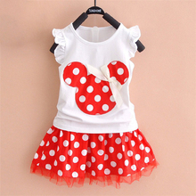 2019 New T-shirt + skirt baby child suit 2 pieces fashion girls clothing sets Minnie children's clothes bowknot shirt dress 2-7T все цены