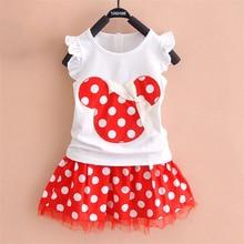 купить 2019 New T-shirt + skirt baby child suit 2 pieces fashion girls clothing sets Minnie children's clothes bowknot shirt dress 2-7T дешево
