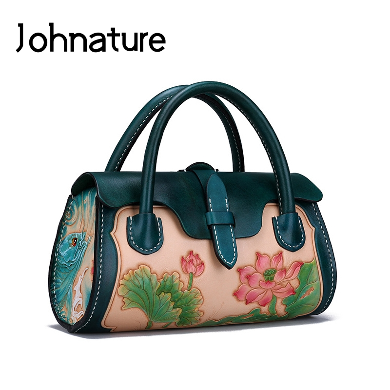 Johnature Leather Carving Luxury Handbags Women Bags Designer 2020 New Retro First Layer Cowhide Lotus Totes Chinese Style Bag
