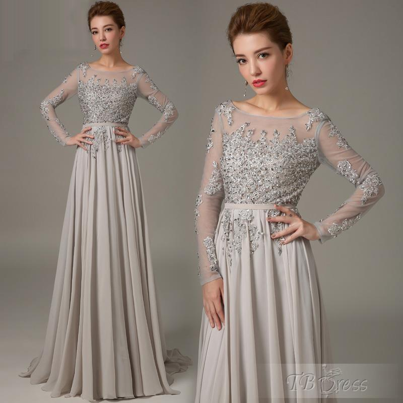 Vestidos De Madrinhas Groom Grey With Long Sleeves Crystals 2019 Formal Chiffon Plus Size Lace Gowns Mother Of The Bride Dress