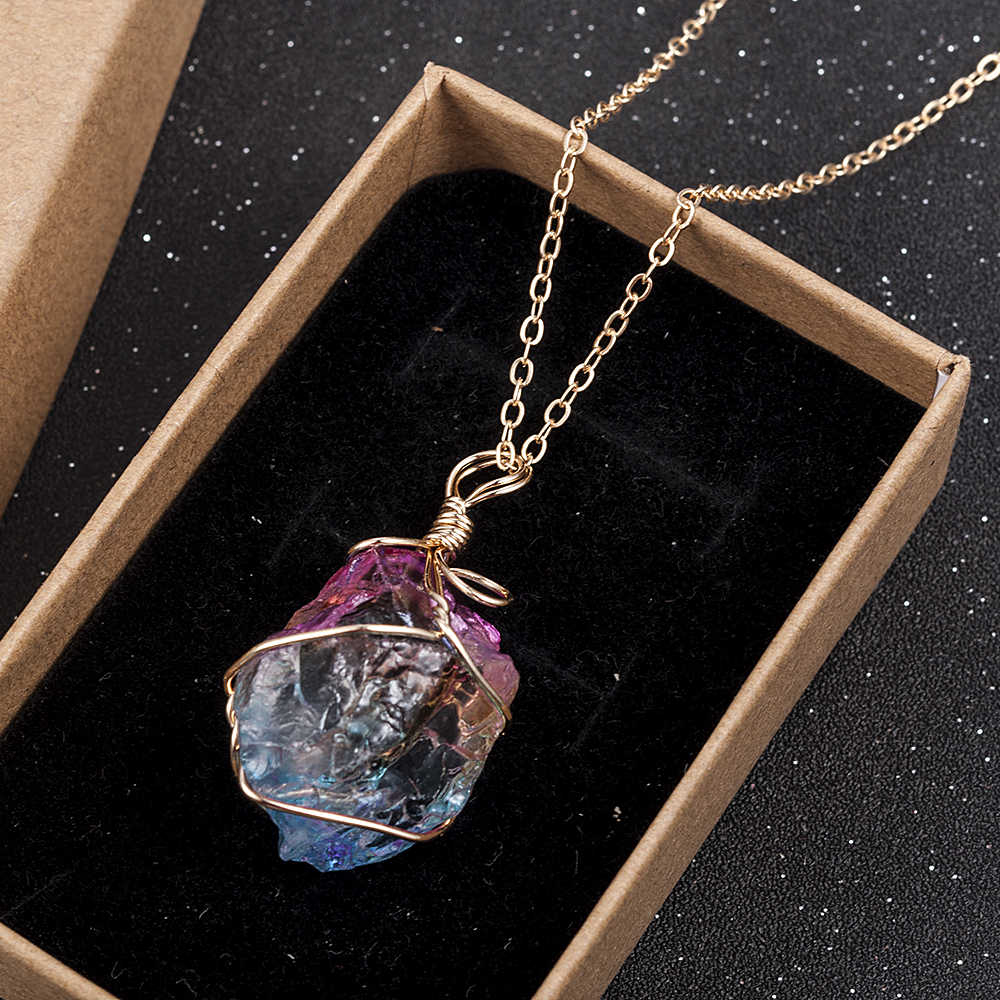 2019 New Fashion Women Rainbow Stone Natural Crystal Chakra Rock Chain Necklace Quartz Pendant Jewelry