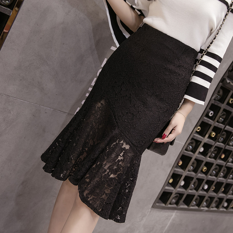 Photo Shoot 2019 New Style Lace Mid-length Black And White With Pattern Sheath Fishtail Skirt