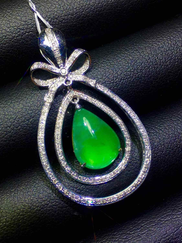 เครื่องประดับ 18K Gold AU750 G18K Emerald จี้ Emearld 2.9ct Gold Diamond จี้สร้อยคออัญมณีสำหรับสตรี