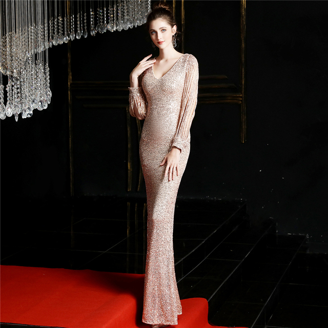 Sequined Mermaid Prom Dress Elegant V-Neck Women Party Dress DX254-4 2019 Plus Size Robe De Soiree Floor Length Evening Dresses 5