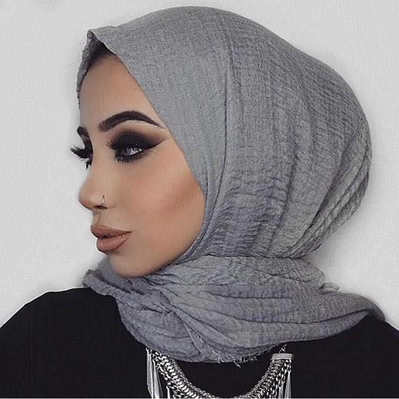 Women Islam Maxi Crinkle Shawl Muslim Long Shawl Cotton and Linen Women  Ladies Simple Daily Wrap Hijab Plain Muslim Headscarf