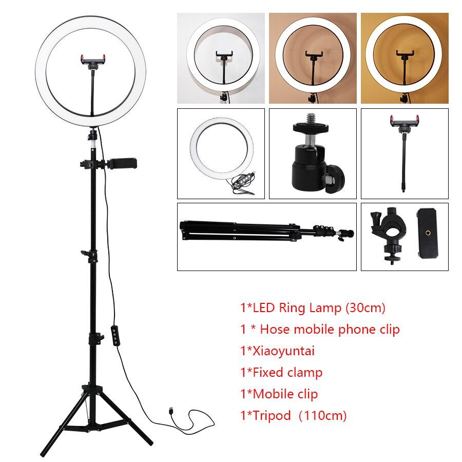 30 см кольцо для селфи с подставкой для штатива и держателем для сотового телефона для прямого эфира/макияжа, мини светодиодная камера для ви