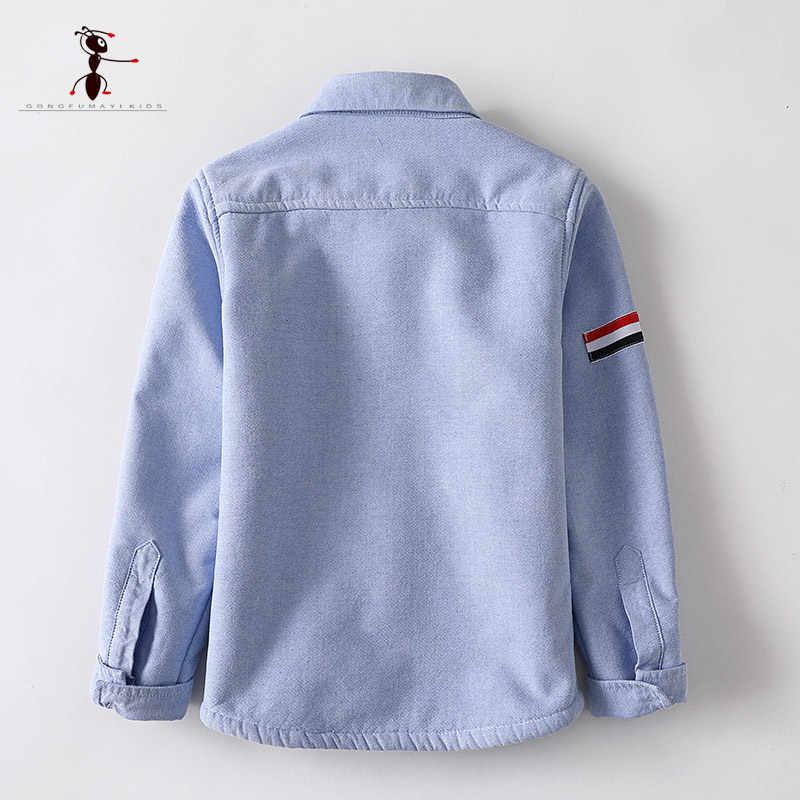 Kung fu formiga marca original outono inverno bordado quente de pelúcia meninos camisas 3 t-10 t de alta qualidade algodão quente crianças camisas
