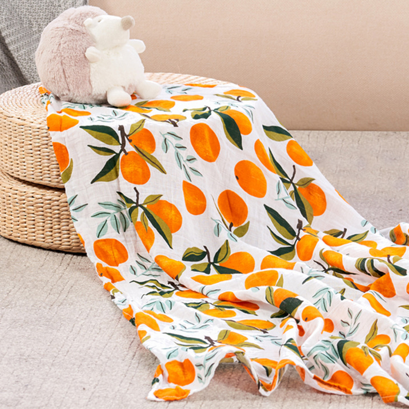 Baby Monthly Blanket Muslin Blanket  Muslin Swaddle Wraps Soft Print Cotton Bamboo Swaddle 120x120cm Newborns Bedding Diapers